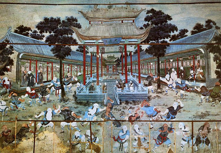 dipinto di combattimento di kung fu nel monastero di Shaolin